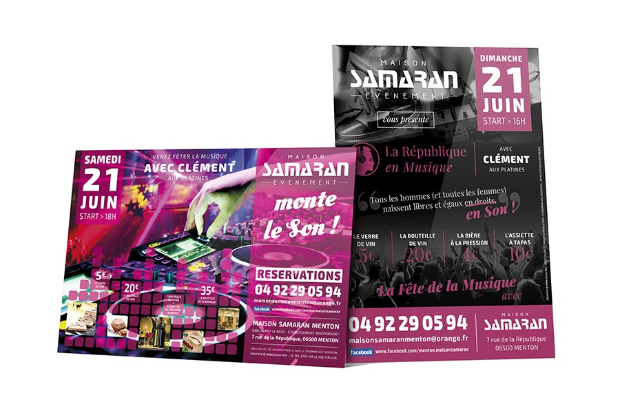 designer graphique communication evenementielle creation flyer samaran fete musique 2014-2015