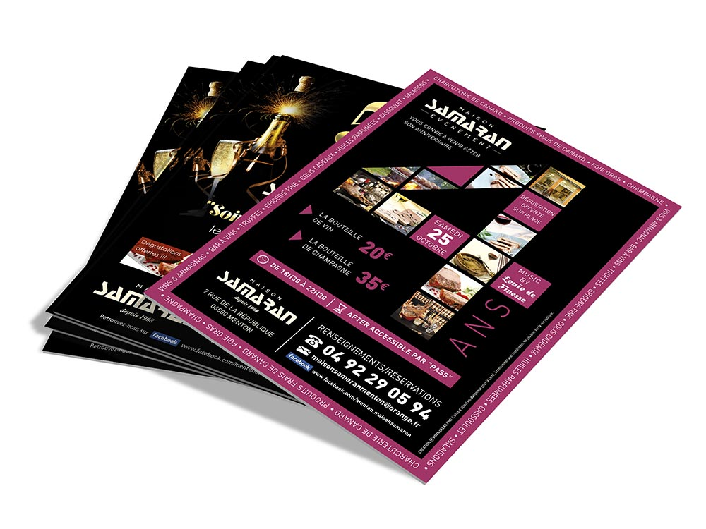 graphiste communication evenementielle creation flyers anniversaires maison samaran 1